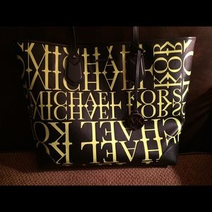 Michael Kors Neon & Black Leather Tote